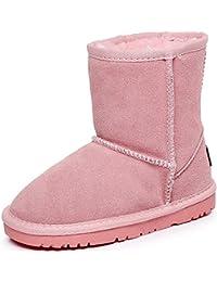 Unisex Boys Girls Mid-Calf Suede Snow Boots Children Thermal Warm Lining Anti-Slip