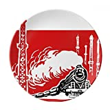 China Train Tower Steam Red Dessert Plate Decorative Porcelain 8 inch Dinner Home