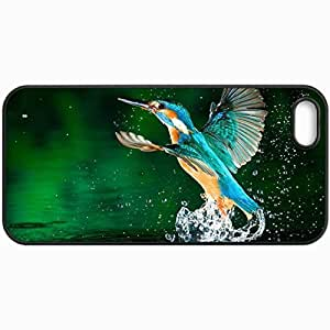 Customized Cellphone Case Back Cover For iPhone 5 5S, Protective Hardshell Case Personalized Kingfisher Black