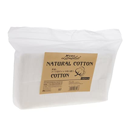 Sharplace 180pcs almohadillas de algodón cosméticas suaves sin pelusa removedor de maquillaje facial uñas toallitas