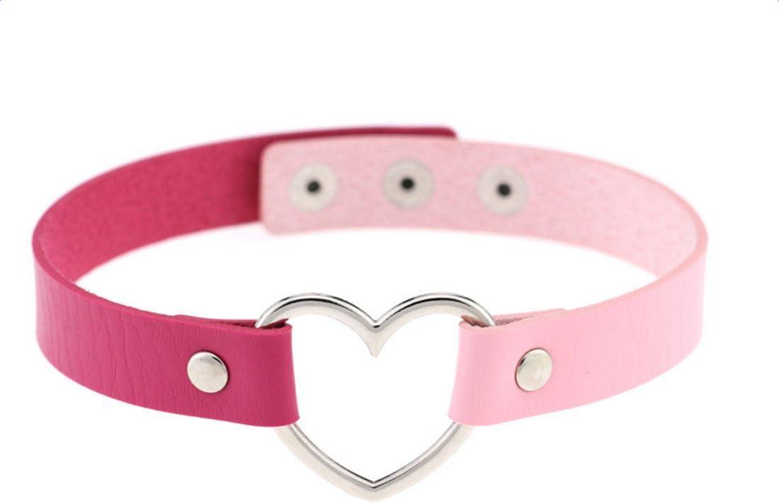 Rosa-Blau 39*1.7*0.5cm umanuby Halskette PU Leder Pfirsich Herz Form Schl/üsselbein kurzen Absatz Zwei Farben optional