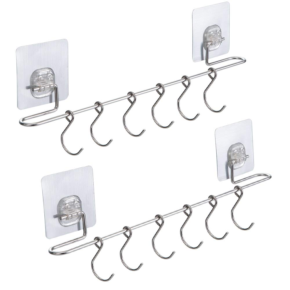 E-Gtong 2-Pack Kitchen Rail SUS 304 Stainless Steel with 12 Sliding Hooks No Drilling Wall Mounted Utensil Rail Holder Rack Hanging Hooks for Kitchen Tools, Pot, Pan, Towel - 15.3 Inch