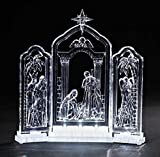 10'' Icy Crystal LED Lighted Religious Christmas Nativity Triptych Decoration