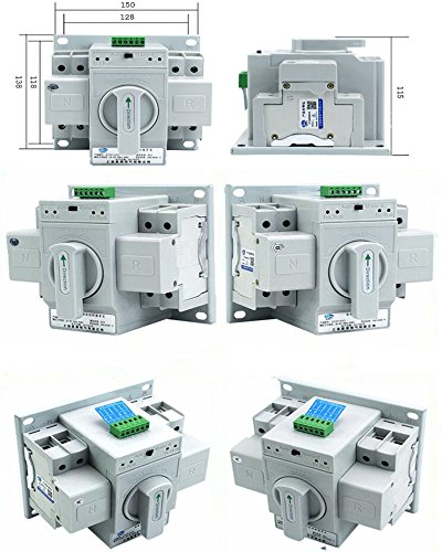 guangshun New Home Dual Power Automatic Transfer Switch 2P 63A 220V Toggle Switch Double Power Automatic Change-Over Switch by guangshun (Image #3)