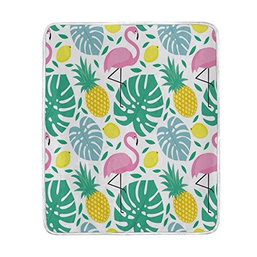 ALAZA Home Decor Summer Lemon Fruit Pineapple Flamingo Blanket Soft Warm Blankets for Bed Couch Sofa Lightweight Travelling Camping 60 x 50 Inch Throw Size for Kids Boys Women