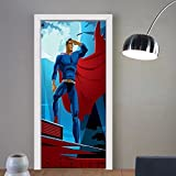 Gzhihine custom made 3d door stickers Superhero Hero in Disguise at Night with Super Powers Hand Drawn Style Muscular Man Print Decor Orange Black For Room Decor 30x79