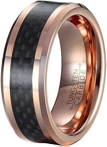 Bishilin 8mm Stainless Steel Wedding Bands Tungsten Mens Carbon Fiber Rose Gold Black Rings Size:8