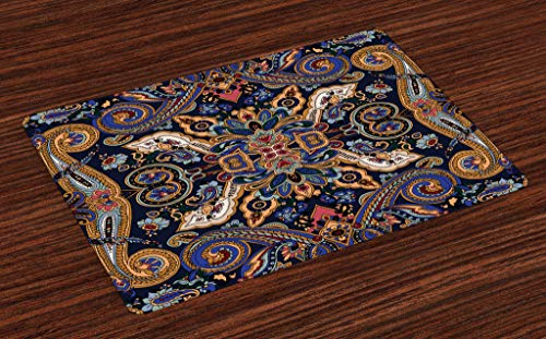 Ambesonne Paisley Place Mats Set of 4, Moroccan Florets Slavic Effects Heritage Design, Washable Fabric Placemats for Dining Room Kitchen Table Decor, Caramel Violet Blue Dark Lavender Dark -