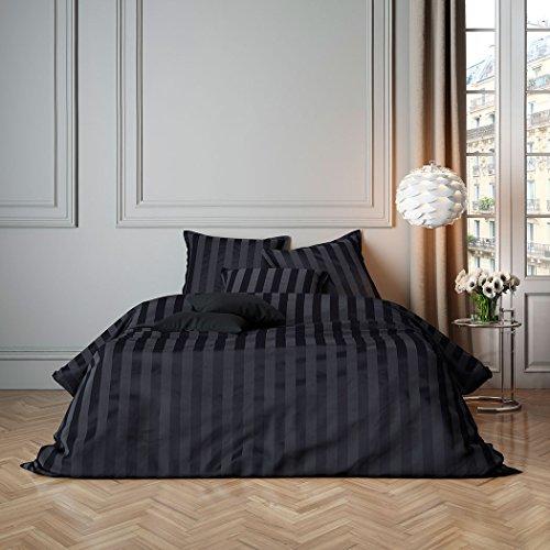 Bettwaren-Shop Uni Mako-Satin Streifen Bettwäsche anthrazit Bettbezug einzeln 200x200 cm