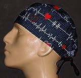 Anesthesia, EKG , ECG Black Surgical Scrub Hat