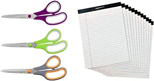 AmazonBasics Multipurpose, Comfort Grip, Titanium Fused, Stainless Steel Office Scissors - Pack of 3 & Legal/Wide Ruled 8-1/2 by 11-3/4 Legal Pad - White (50 Sheet Paper Pads, 12 pack)