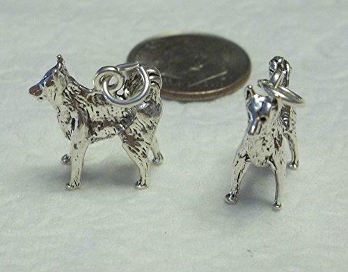 1 Sterling Silver 15x15mm Akita Border Collie Dog Charm