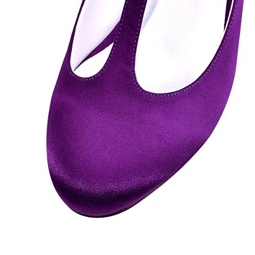 Shoes Dress ElegantPark Chunky Purple T Satin Pumps Women Strap Toe Closed Heel Evening Wedding qtP71wqr