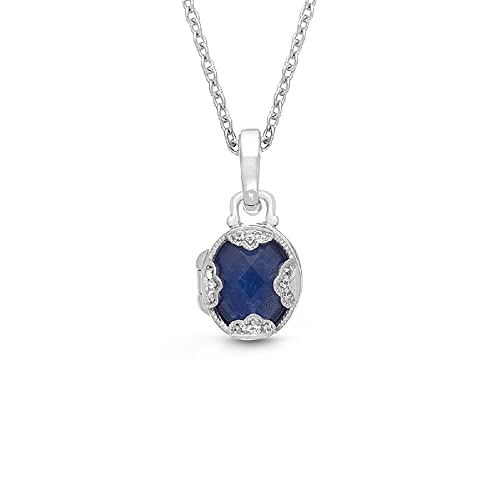10k White Gold Gemstone and Diamond Accent Flame Pendant Necklace, 18