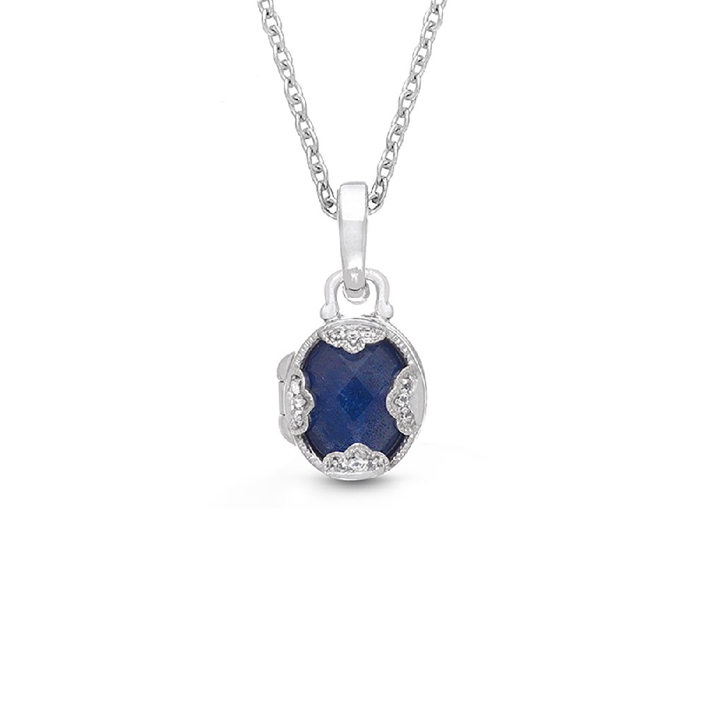 Sterling Silver-Blue Lapis-White Topaz-Custom Photo Locket Necklace-18-inch chain-The Gia by With You Lockets