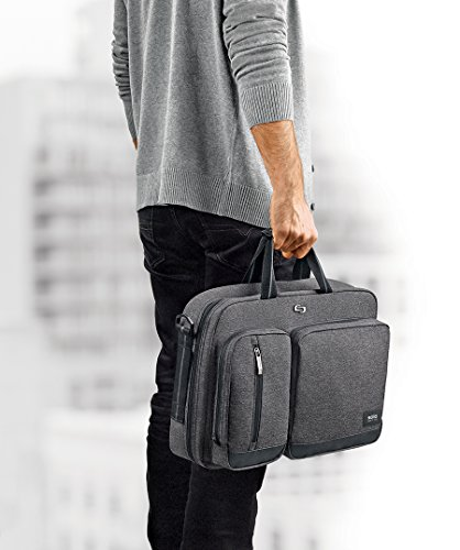 Solo Duane 15.6 Inch Laptop Hybrid Briefcase, Converts to Backpack, Grey by SOLO (Image #3)