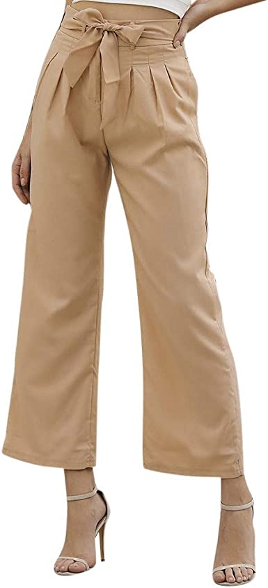 Suces Pantalones De Mujer Elegantes De Cintura Alta Informales De Tela Con Bolsillos Para Fiestas Tiempo Libre Pierna Recta Caqui Xl Amazon Es Ropa Y Accesorios
