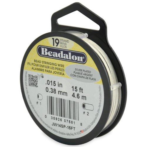 Beadalon Stringing Wire 19-Strand .015-Inch (.38-Millimeter) Diameter 15-Feet/Pkg, Silver Plated