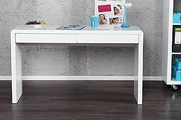 DuNord Design Schreibtisch hochglanz weiss Bürotisch Konsole BOSTON 120cm  hochglanz weiss Laptop Tisch