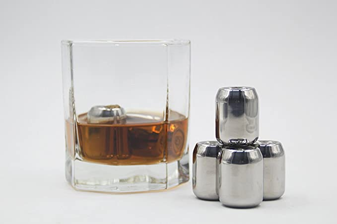 6pcs Whisky Steine Edelstahl Eiswürfel Kühlwürfel Kühlsteine Kühlung Cubes Bier
