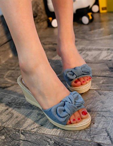 forme Coin Plate Transer Femmes Talons Chaussures Pantoufles Dames Bleu D'été De Arc 70qUI