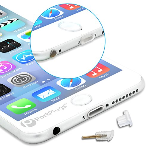 - PortPlugs Dust Plugs (5 Sets) - Compatible iPhone 5, SE, 6, 6s, 6s - Headphone Jack Plugs with SIM Tool - Protect Your Cell Phone from Dust, Lint (Clear)