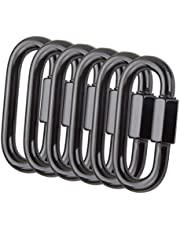 CBTONE 6 PCS Quick Link Chain Connector, M8 Heavy Duty (1760 Lbs.) D Shape Screw Chain Link Stainless Steel Locking Carabiner Clips, Black