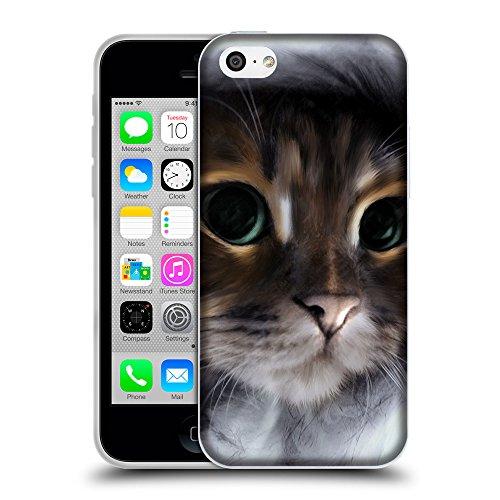 Just Phone Cases Coque de Protection TPU Silicone Case pour // V00004197 Chaton dans un capot gris // Apple iPhone 5C