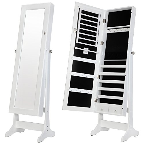 Homegear Modern Mirrored Jewelry Cabinet With Stand Armoire Organizer Storage White