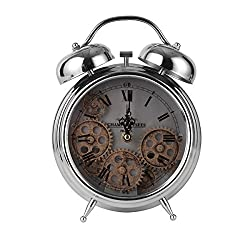 TORCH Twin Bell Metal Gear Desk Clock Vintage Silver Roman Numeral Clock