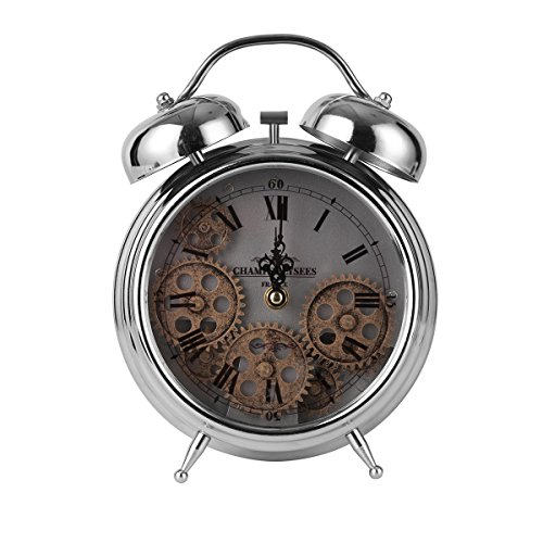 TORCH Twin Bell Metal Gear Desk Clock Vintage Silver Roman Numeral Clock by TORCH-CN