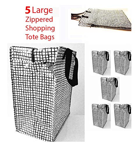 Set of 5 (Black/White) Shopping Bag Zippered Grocery Tote Gifts Reusable Tkmini9 from Unknown