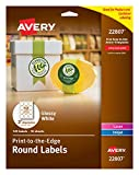 Avery Easy Peel Permanent Print-To-The-Edge Round Labels, Laser/InkJet, 2-Inch, Glossy White, Pack of