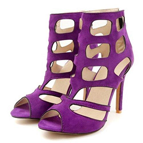 Donna 2 purple Caviglia Gladiator Moda Zanpa Sandali UqAd077w