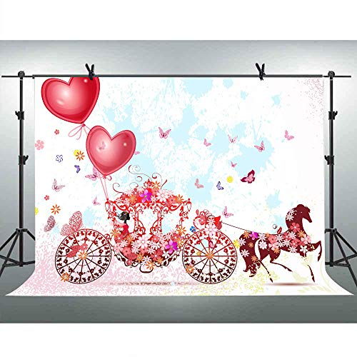 FLASIY 10x7ft Romantic Backdrop Fairytale Butterfly Carriage Photography Backgrounds Vinyl Studio Photo Booth Props LYAY702 ()