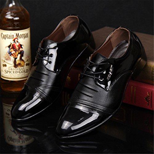 qianchuangyuan Chaussures de Ville Pour Hommes Neuves Cuir PU à Lacets Bout D'Affaires Oxfords Chaussures Noir y2Ws9zRy
