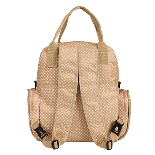 LCY 4pcs de alta capacidad mochila bolsa de pañales de bebé Black with Small Dots Apricot with Small Dots