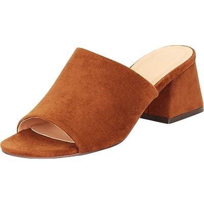 Cambridge Select Women's Open Toe Single Band Slip-On Flared Block Heel Mule Slide Sandal   Shoes