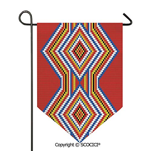 SCOCICI Easy Clean Durable Charming 12x18.5in Garden Flag Traditional Native American Style Aztec Mosaic Pattern Ethnic Symbol Image Art Print,Multi Double Sided Printed,Flag Pole NOT Included