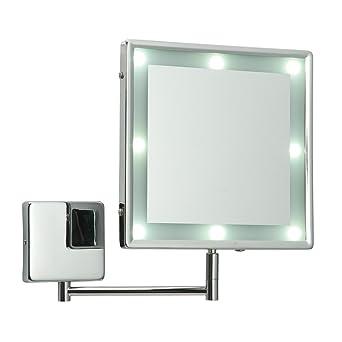 Adjustable Square Chrome IP44 Rated Battery Operated Bathroom LED  Illuminated Make Up Cosmetic Shaving Vanity Wall. Adjustable Square Chrome IP44 Rated Battery Operated Bathroom LED