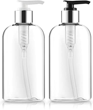 22045f719b93 Empty Lotion Bottles 8 Oz. Crystal Clear Short Round Bottles SET,  Black-Silver & White-Silver Pump, Great for...