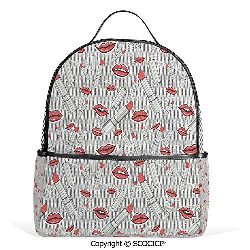 Hot Sale Backpack outdoor travel Make Up Pattern Lips and Lipstick Fashion Girl Theme Beauty Treatment Cosmetic Design Decorative,Red Grey,With Water Bottle Pockets
