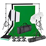 1.8M x 2.8M/6ft x 9ft 3 Color Background Stand Backdrop Support System and Clips Umbrellas Softbox Continuous Lighting Kit with Portable Bag for Photo Studio Product, Portrait and Video Shooting