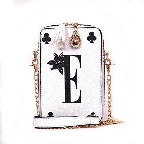 à Paquet bandoulière Blanc Jeu ZHRUI Cartes personnalité de carré Sac de chaîne nF7qwn0d8x