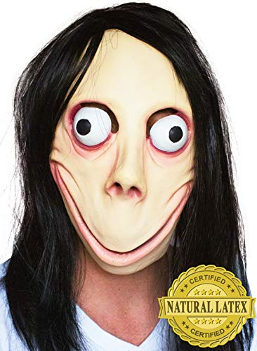 (MOMO Scary MASK Halloween Props - Creepy Horror Latex Realistic Full Head with Wig Cosplay Costume Mask Party Decoration)
