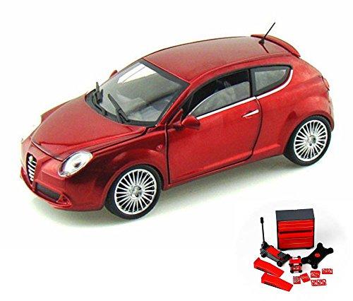 Alfa Romeo Diecast Car & Mechanic Set Package Mito Hard Top, Metallic Red - Mondo Motors MO51046 - 1/24 scale diecast model car w/Mechanic ()
