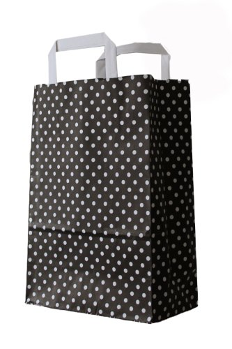 25 Stück farbige Papiertragetaschen Papiertaschen schwarz-weiß gepunktet 18 + 8 x 22 cm