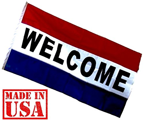 US Flag Factory - 3x5 Nylon WELCOME Flag (Sewn Stripes) Outdoor Message Flag - Commercial Grade Business WELCOME Flag - Made in USA - Premium Quality