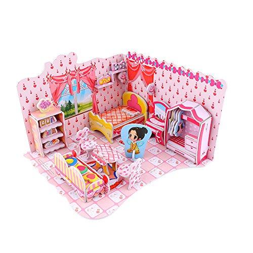 Goldflower Paper 3D Jigsaw Puzzle Pink Sweet Bedroom Kids Cute DIY Dollhouse Miniature Furniture Hand Craft Kit