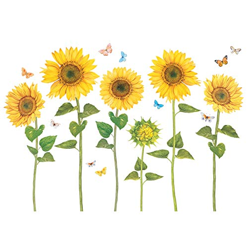 DECOWALL DAT-1905 Watercolour Sunflower Kids Wall Stickers Wall Decals Peel and Stick Removable Wall Stickers for Kids Nursery Bedroom Living Room (Stickers Wall Sunflower)